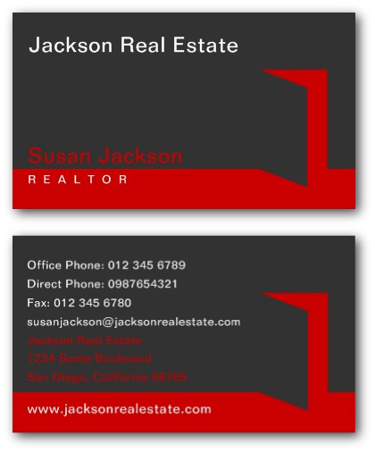 Estate agents business cards