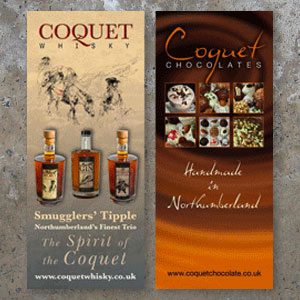 Display Stand Roller Banners for a Whisky and Chocolate Business