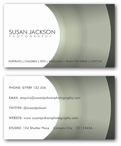 Camera lens photographers business card template