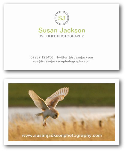 Wildlife photographer business card example