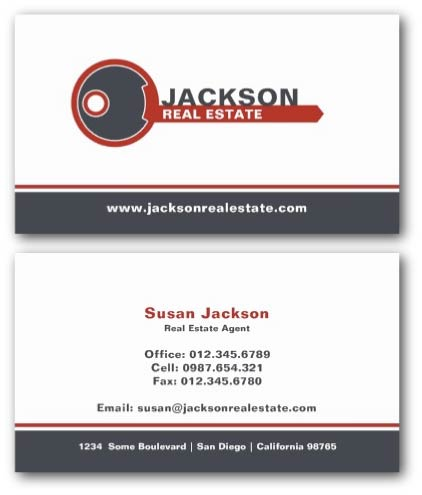 Key logo estate agent business card