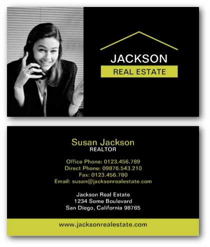 Black real estate business card with photo